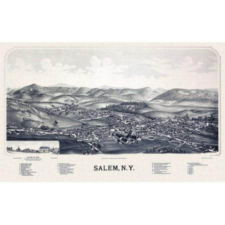 Salem New York Map.Historic Map Of Salem New York 1889 Washington County Canvas Art