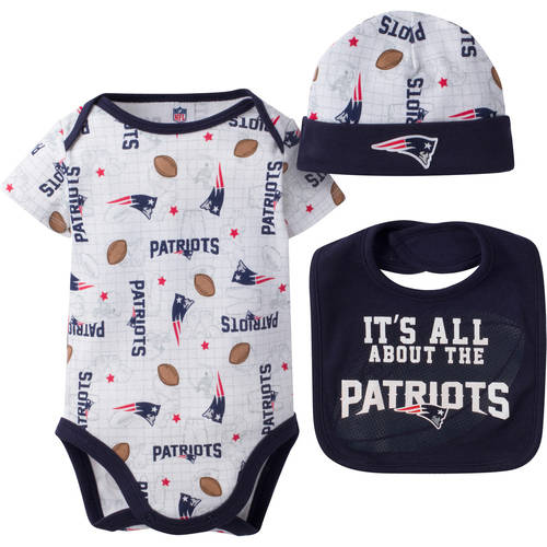 NFL New England Patriots Baby Boys Bodysuit, Bib and Cap Outfit Set, 3-Piece