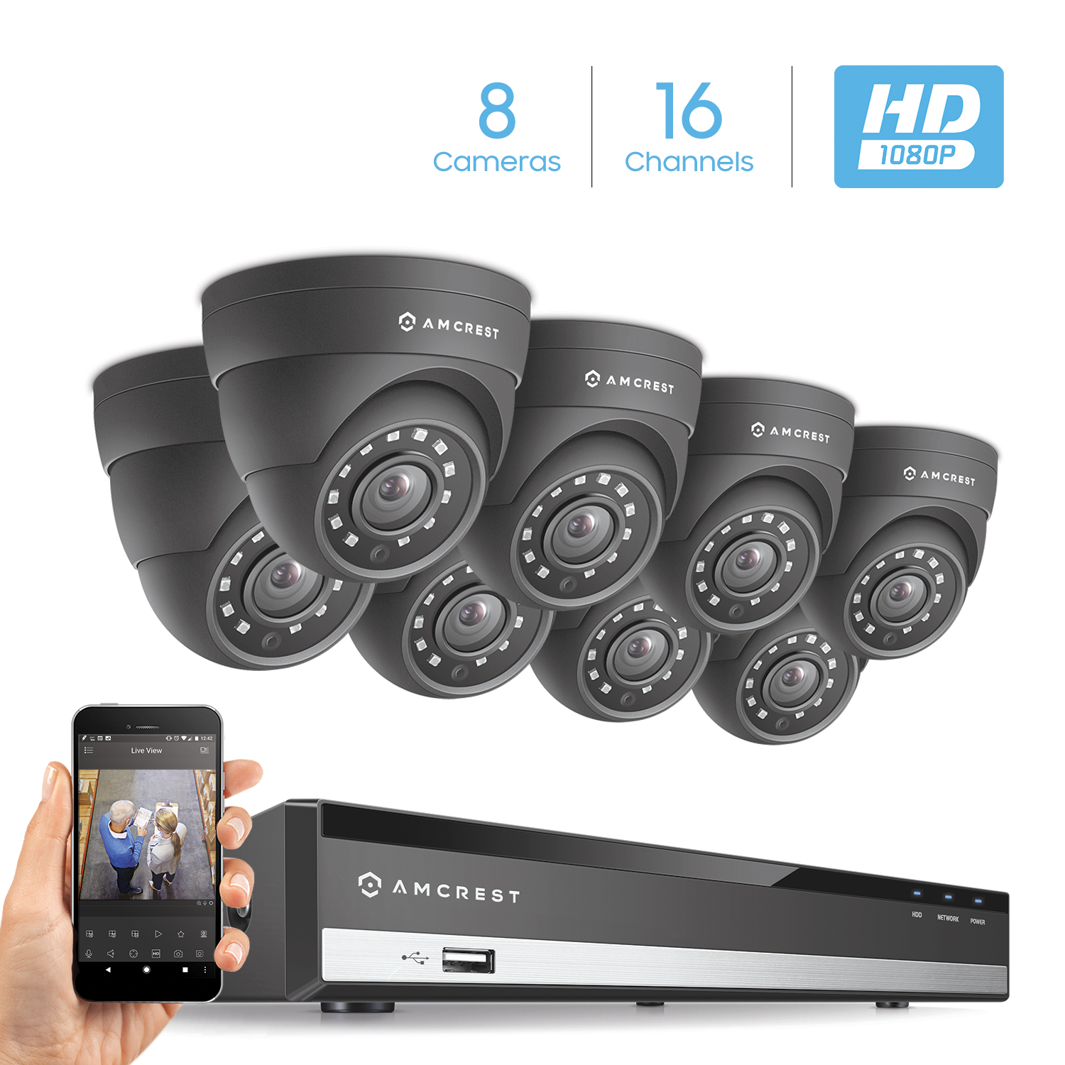 Amcrest Full-HD 1080P 16CH Video Security System w/ Eight 2.0MP (1920TVL) Outdoor IP67 Dome Cameras, 66ft Night Vision, Hard Drive Not Included, (AMDV108116-8D-B)