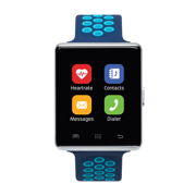 iTouch Air 2 Smartwatch 45mm Silver Case with Navy and Turquoise Perforated Strap