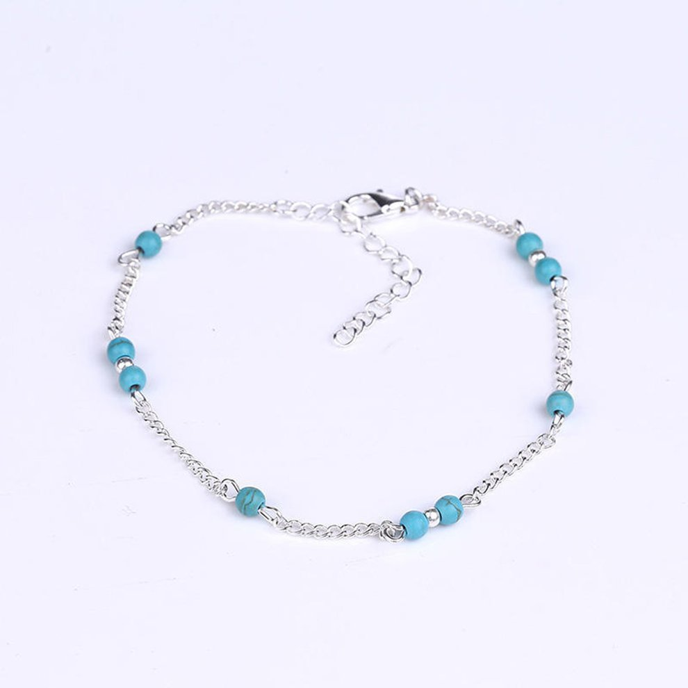 Bangle Special Anklet Beaded Women Bracelet Blue Fake Turquoise Silver Plated