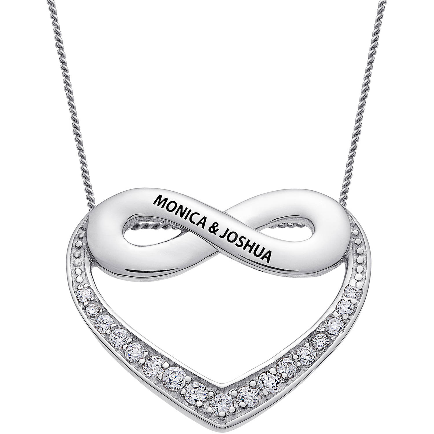 Personalized Sterling Silver Couple's Heart Infinity Engravable Necklace