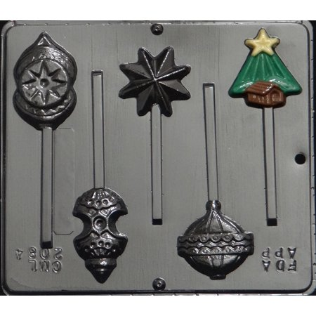 2084 Christmas Tree Assorted Ornaments Lollipop Chocolate Candy Mold - Christmas Lollipops
