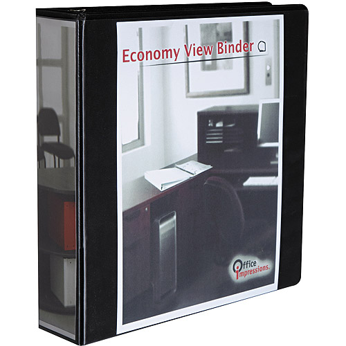 "Office Impressions Economy D-Ring View Binder, 2"" Capacity, Black"