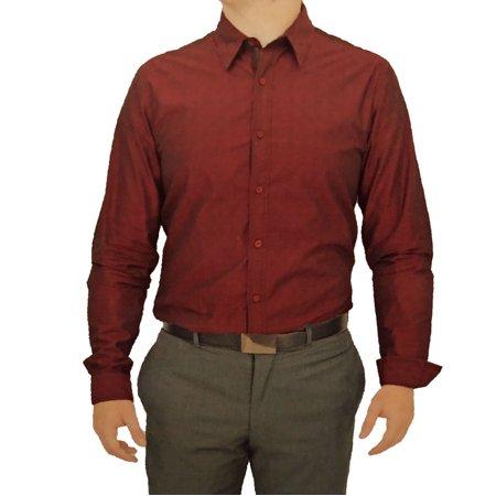 English Laundry Men Long Sleeve Cotton Stretch Dress Shirt Burgundy