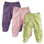 Baby Soy O Soy 3-piece Footie Pants Set for Girls, 3-6M (Meadow, Peony, Wineberry)