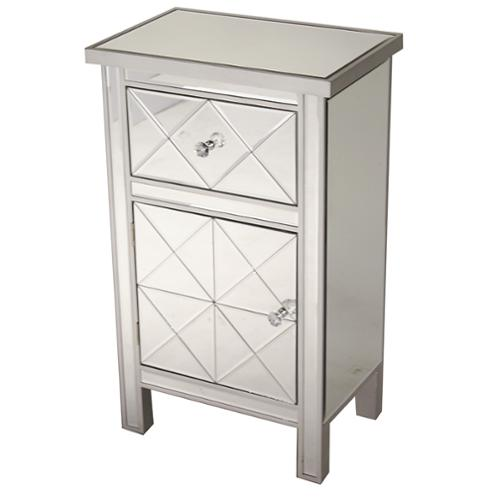 Heather Ann Single Drawer, Single Door Mirrored Cabinet Silver