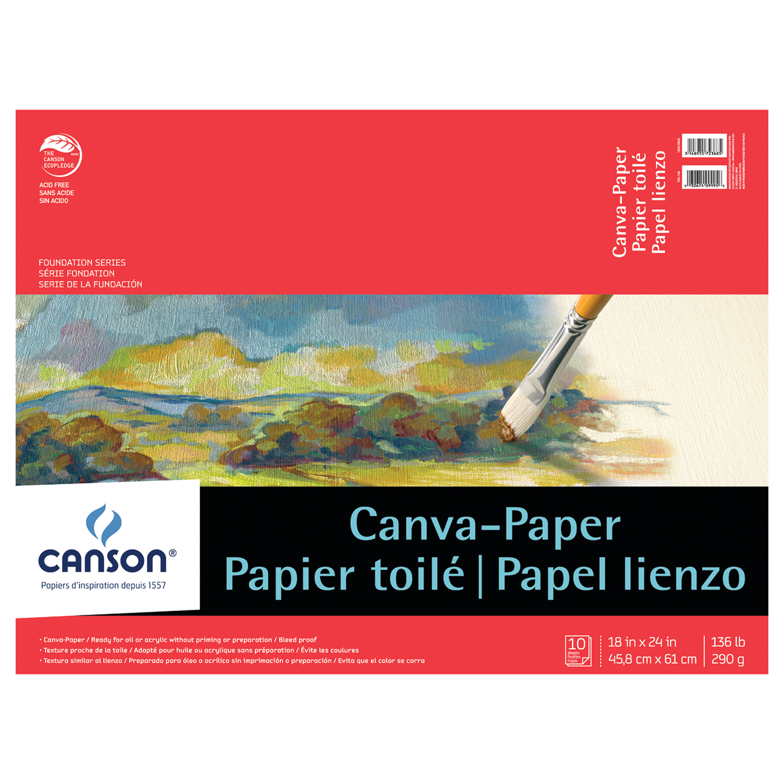 Canson Foundation Series Canva-Paper Pad, 18in x 24in