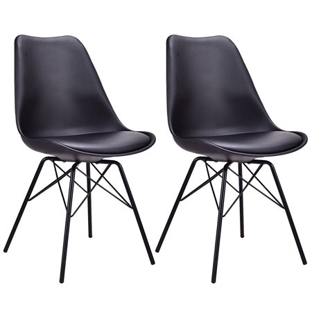 Gymax Set of 2 Dining Side Chair Upholstered Armless W/ Padded Seat Metal Legs