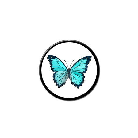 Butterfly Blue Lapel Hat Pin Tie Tack Small Round