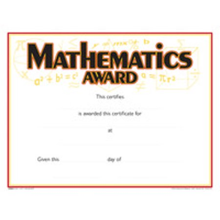 School Smart Raised Print Mathematics Recognition  Award, 11 x 8-1/2 inches, Pack of 25