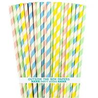 100 Pastel Stripe Paper Straws