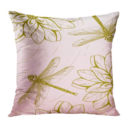 Adult Lily (ECCOT Abstract Dragonfly Flying Over Pond Lilies Contour Floral Adult Beauty Black Book PillowCase Pillow Cover 16x16 inch )