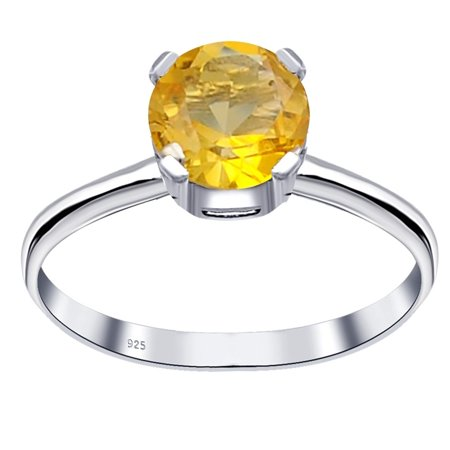 Essence Jewelry 0.8 Ctw Citrine 925 Sterling Silver Solitaire Engagement Ring Size -8 Ctw Citrine Ring