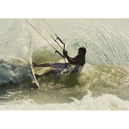 Man Kitesurfing Canvas Art - Ben Welsh Design Pics (34 x 24)