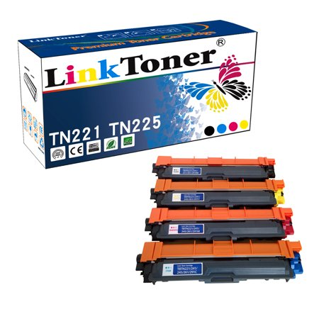 LinkToner Tn225 Brother Compatible Toner Cartridges for Brother Tn221 Tn-225 4 Color BCMY Laser Printer Cartridge