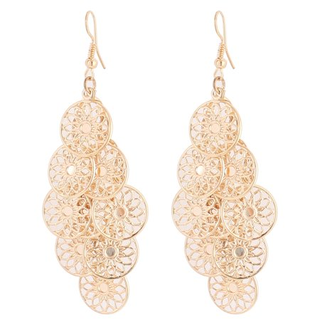 Woman Hollow Flower Circle Dangle Chandelier Fish Hook Earrings Gold Tone Pair ()