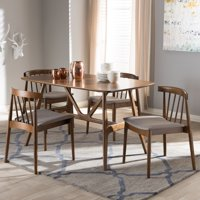 Baxton Studio Wyatt Mid-Century Modern Walnut Wood 5-Piece Dining Set