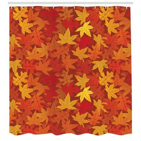 Orange Shower Curtain, Colorful Autumn Fall Season Maple Leaves in Unusual  Designs Nature Artsy Print, Fabric Bathroom Set with Hooks, Burnt Orange,
