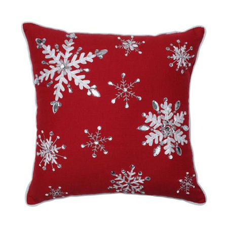 Pillow Perfect 629919 16 in. Jeweled Christmas Throw Pillow - Red - image 1 of 1