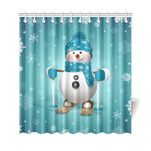 GCKG Skling Snowman Shower Curtain Christmas Cartoon Character Polyester Fabric Bathroom Sets With Hooks 66x72 Inches