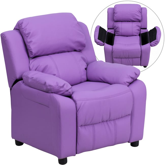 Lancaster Home Deluxe Heavily Padded Contemporary Lavender Vinyl Kids Recliner with Storage Arms