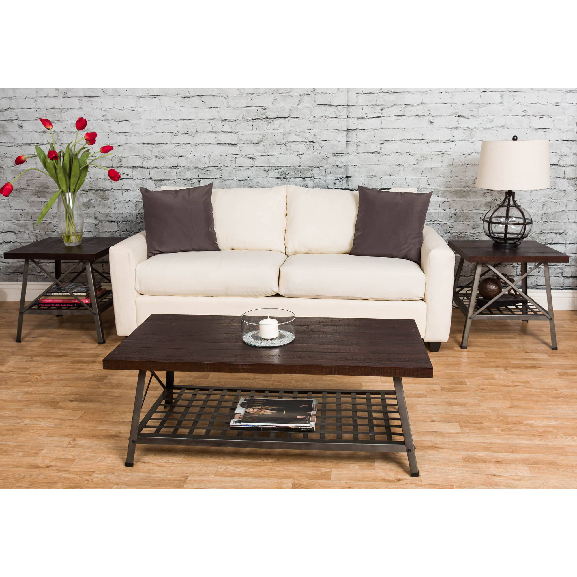 Starfish Furnishings Reclaimed Wood 3-Piece Occasional Table Set, Dark Merlot Finish