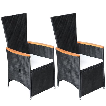 HERCHR Reclining Garden Chairs 2 pcs with Cushions Poly Rattan Black ()