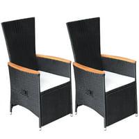 HERCHR Reclining Garden Chairs 2 pcs with Cushions Poly Rattan Black