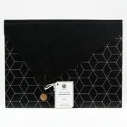 U BRANDS Classic 13 Pocket File Folder, Black and White, 3637U