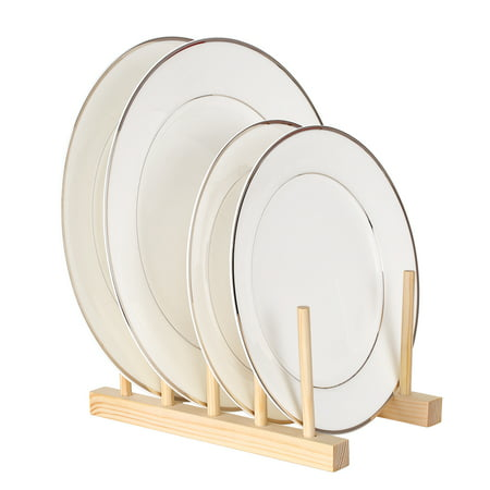Multi-purpose Wooden Dish Rack Dishes Drying Drainer Storage Stand Holder Kitchen Cabinet Organizer for Dish/Plate/Bowl/Cup/Pot Lid/Book ()