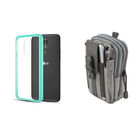 Slim Crystal Clear Hybrid Drop Protection Cover Case (Aqua Teal Green) with Gray Tactical EDC MOLLE Utility Waist Pack Holder Pouch, Atom Cloth for LG Stylo 4+ Plus/LG Stylo 4 (2018)