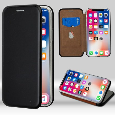iPhone X Case, by Insten Executive Protector Stand Folio Flip Hard Plastic/Soft TPU Rubber with Card Holder Slot Case Cover For Apple iPhone X, Black + BasAcc Charging Cable Charger Cord