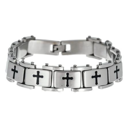 Mens Polished Cross Link Bracelet in Stainless Steel