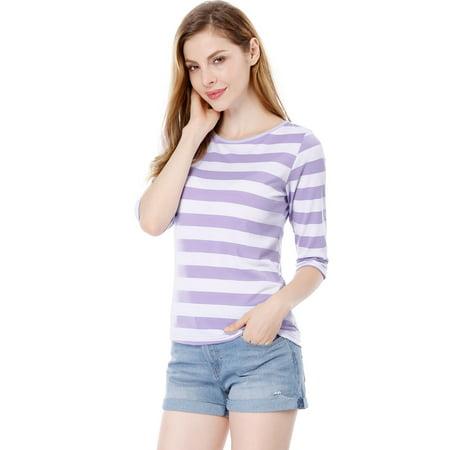 Unique Bargains Women's Elbow Sleeves Contrast Color Stripes Top Pink Gray XS - image 3 de 5