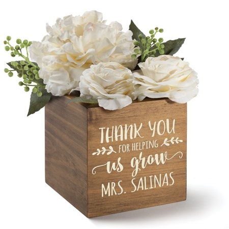 Personalized Wood Storage Box - Thank You For Helping Me Grow - Personalized Storage Bins