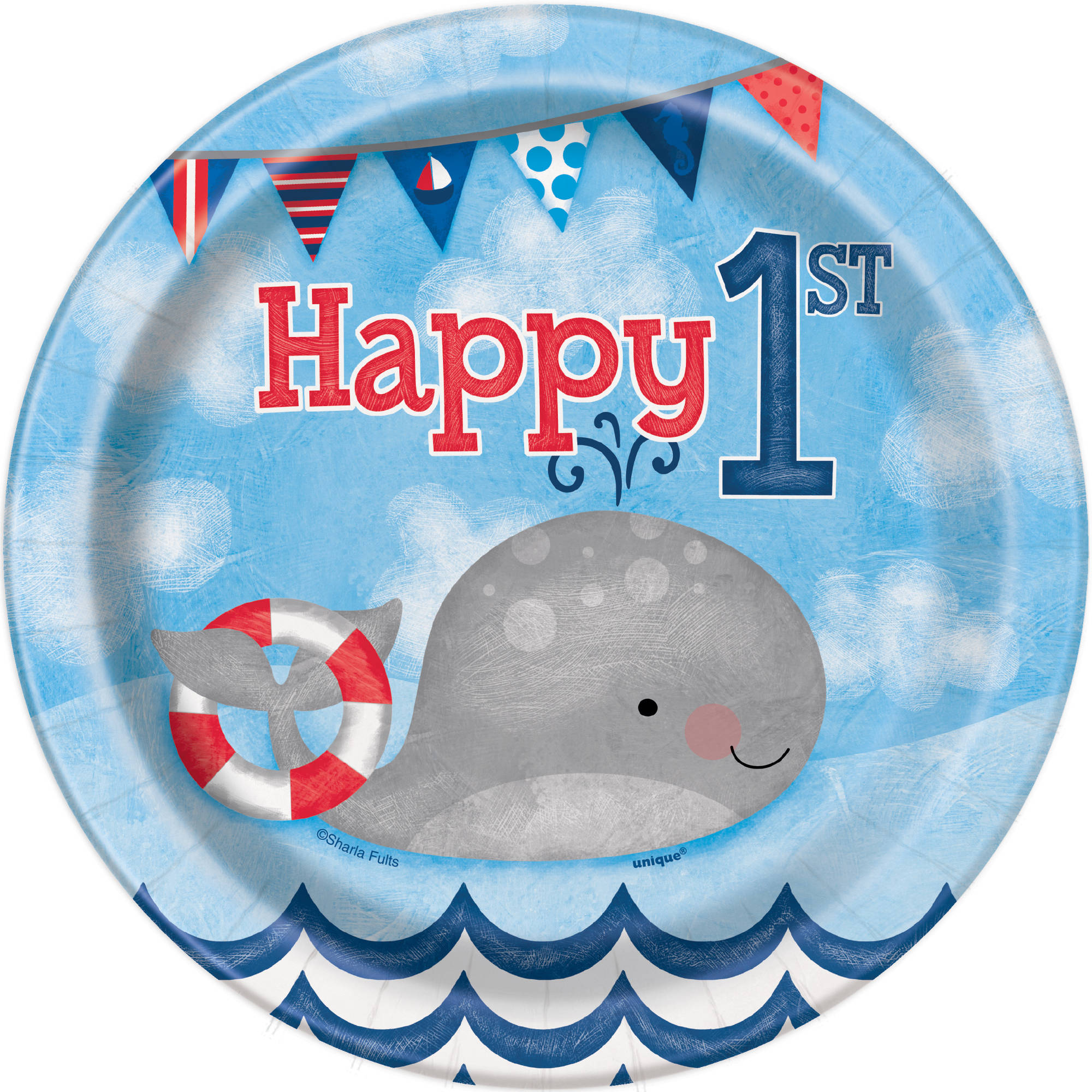 Nautical Boys First Birthday Parper Dessert Plates, 7in, 8ct