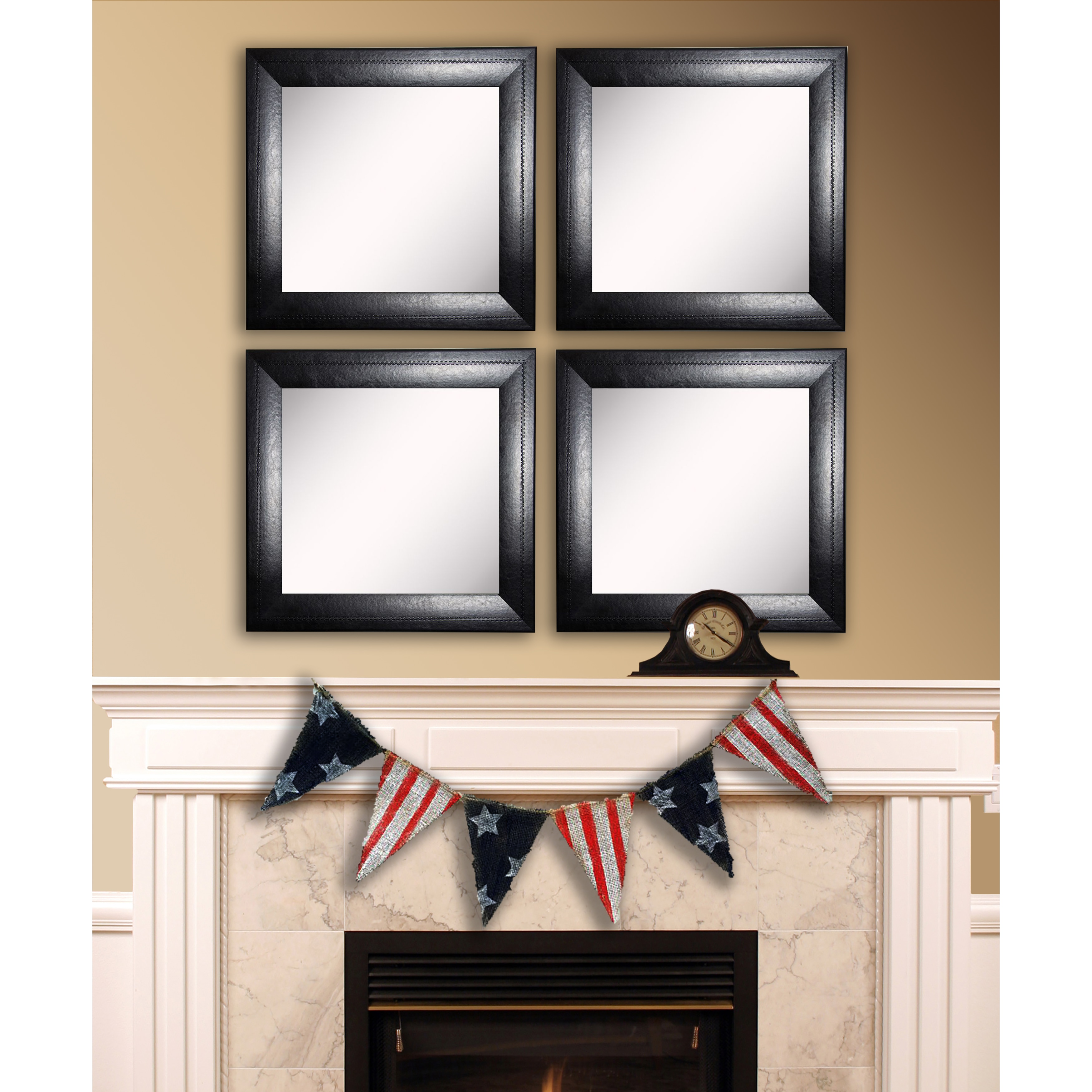 Rayne Mirrors American Made Rayne Stitched Black Leather Square Wall Mirror Set