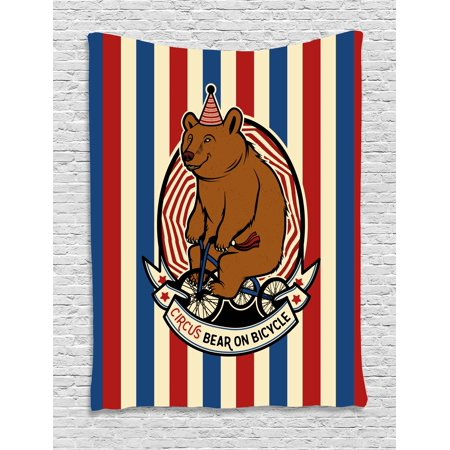 Mascot Multi Stripes (Bear Tapestry, Circus Bear on Bicycle Carnival Theme Cute Mascot with Hat on Striped Backdrop, Wall Hanging for Bedroom Living Room Dorm Decor, Ruby Blue Brown, by Ambesonne )