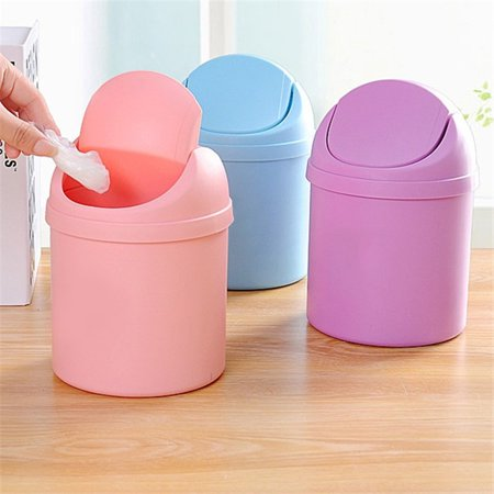 Bestller Cute Mini Small Waste Bin Desktop Garbage Basket Table Trash Can Roll Swing Lid Home