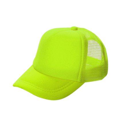 Poly Mesh Cap - Opromo Blank Neon Foam Poly Mesh Trucker Hat Cap, Adjustable Snapback Hi Vis Cap-Neon Yellow-kids