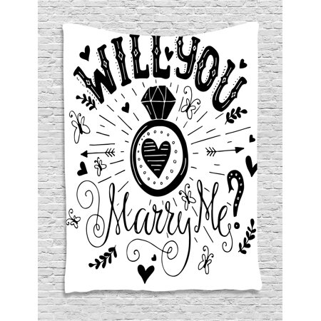 Western Theme Classroom Decorations (Engagement Party Decorations Tapestry, Western Themed Will YOu Marry Me Quote with Hearts Image, Wall Hanging for Bedroom Living Room Dorm Decor, 60W X 80L Inches, Black and White, by)