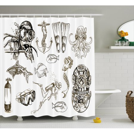 Diving Shower Curtain The Life Of Aquatic Themed Marine Mermaid Snorkeling Octopus Sketchy Design