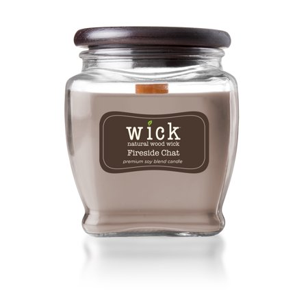 Wick Scented Jar Candle, Wooden Wick and Top, Fireside Chat, 15 oz, Single