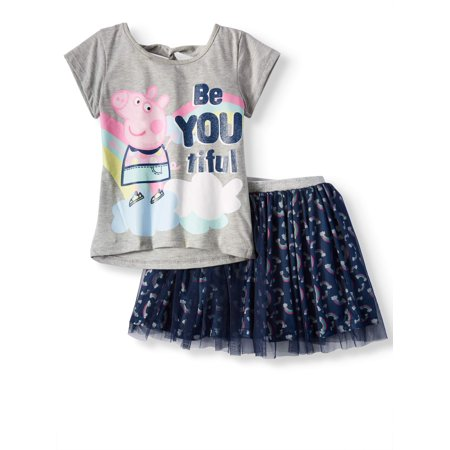 Graphic Tee and Tulle Mesh Skirt 2-Piece Outfit Set (Little Girls)