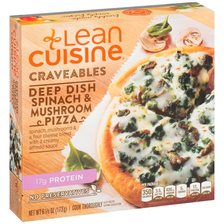Lean cuisine craveables deep dish spinach mushroom pizza for Are lean cuisine pizzas healthy