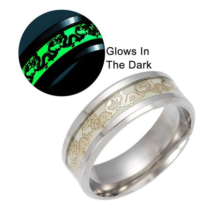 Dragon Glow in the Dark Stainless Steel Comfort Fit Band Ring - Ginger Lyne Collection - Glow In The Dark Rings