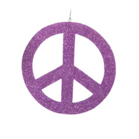 5 Flower Power Purple Glittered Hippie Peace Sign Christmas
