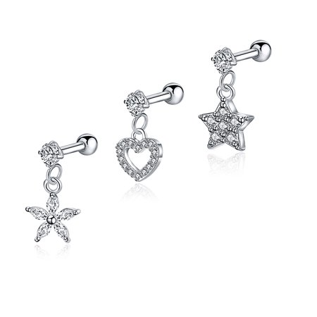 EVBEA 3PCS 18G Tragus Earrings Surgical Steel Clear CZ Cross Heart Star Charms Helix Conch Daith Piercing Jewelry Set -