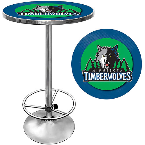 "Trademark NBA Minnesota Timberwolves 42"" Pub Table, Chrome"